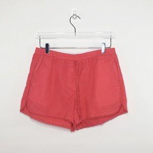 LOFT Orange Coral Linen Blend Shorts Sz M.